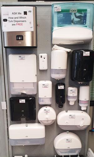 Paper Towel Dispensers, Toilet Roll Dispensers, Hand Soap Dispensers, Sanitary Disposal Dispensers
