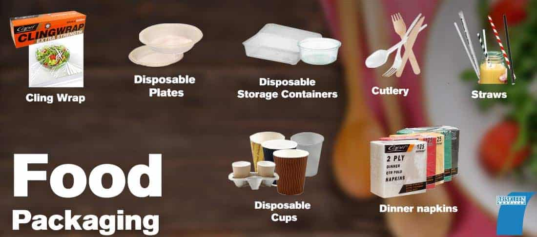Food packaging - Disposable cups, Plastic cutlery, Cling wrap, foil & Baking paper, disposable food containers