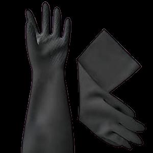 Black Latex Long Gloves, 46cm (Rubber Latex)